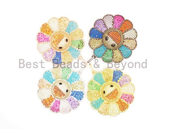 Rainbow Color CZ Micro Pave Smiley Face Sunflower Pendant/Focal, Pave pendant Gold,Silver,Rose Gold,Black plated,44mm,sku#F487