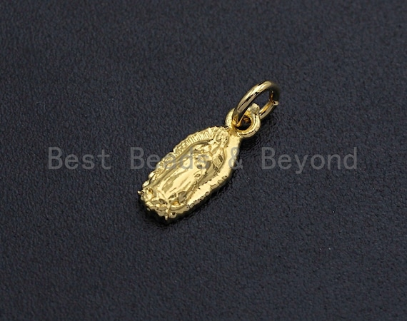 PRE-SELLING Virgin Mary and Baby Jesus Pendant/Charm, Religious Cubic Zirconia Pendant Charm,Gold Tune, 5x12mm,sku#Z698