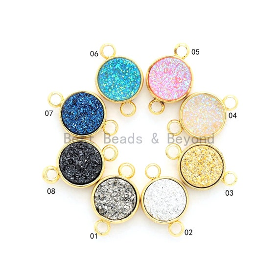 Gold/Silver Mystic Drusy Round Connector, Bezel Druzy Connector Charm, Pink/Champagne /Black/Silver/White/Gray/Blue/Gold,9x14mm,SKU#V24