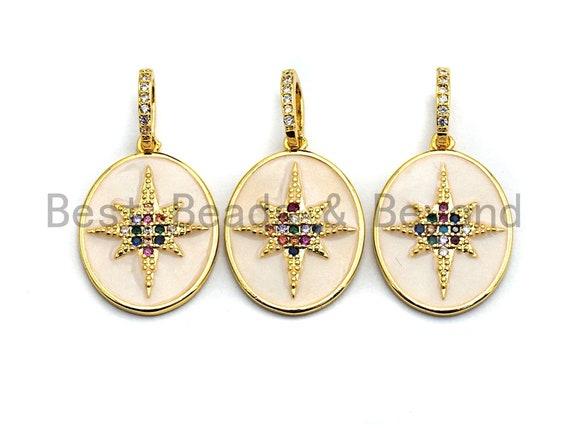 PRE-SELLING Pave Colorful CZ White Enamel North Star Charms Pendant, Enamel Pendant,Oval Enamel, Oil Drop jewelry Findings,16x22mm,sku#F865