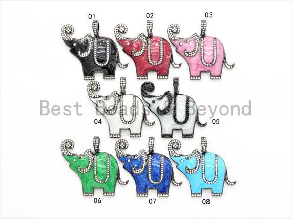 NEW Enamel Colorful Elephant Pendant,CZ Micro Pave Oil Drop Elephant pendant,Enamel pendant,Enamel Jewelry,33x41mm,sku#F569
