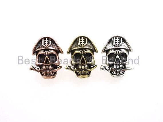 Antique Pirate Skull Paracord Beads, Paracord Survival Bracelet Beads, KeyChain Lanyard Making Findings, DIY Jewelry 15x21x11mm, sku#Y102