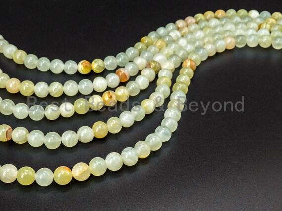 Natural Sun Jade Round Smooth Beads, 6mm/8mm/10mm Milky Jade, 15'.5'' Full Strand, SKU#U30