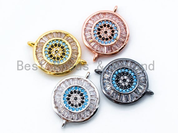 CZ Micro Pave Round Turquoise Black Evil Eye Connector, Evil Eye Connector,  20x15mm, Sku#E146