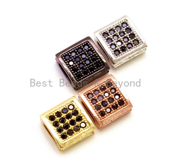 CZ Flat Square Black Micro Pave Spacer Beads, Cubic Zirconia Spacer Beads,Men's Jewelry Beads, 9x9x4mm,1pc/2pcs sku#G121