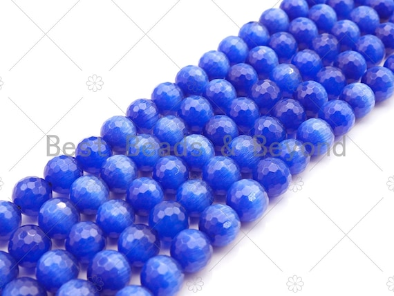 Special Cut Navy Blue Cat's Eye Round Faceted Beads, 6mm/8mm/10mm/12mm Round Faceted, 15.5'' Full Strand, Sku#UA198