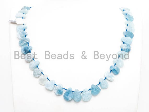 High Quality Natural Aquamarine beads, 12-16mm, Teardrop Top Drilled Gemstone Beads, 16inch strand, SKU#U164