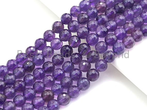 """High Quality Natural Amethyst Round Faceted Beads, 4mm/6mm/8mm/10mm/12mm Amethyst Beads, 15.5"""" Full Strand, sku#U726"""