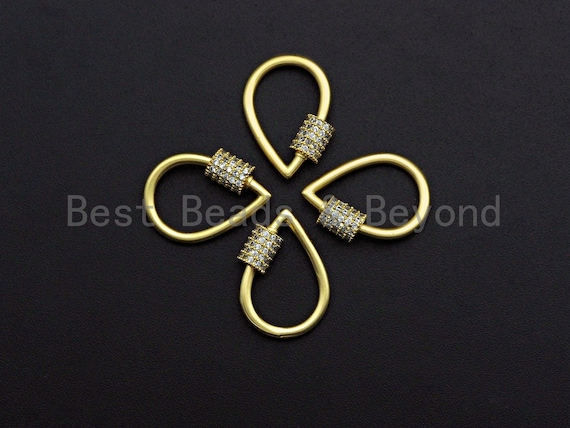 PRESELLING Clear CZ Micro pave  Teardrop Shape Clasp, CZ Pave Teardrop Clasp, 24K Gold Carabiner Clasp, 14x20mm, sku#H200