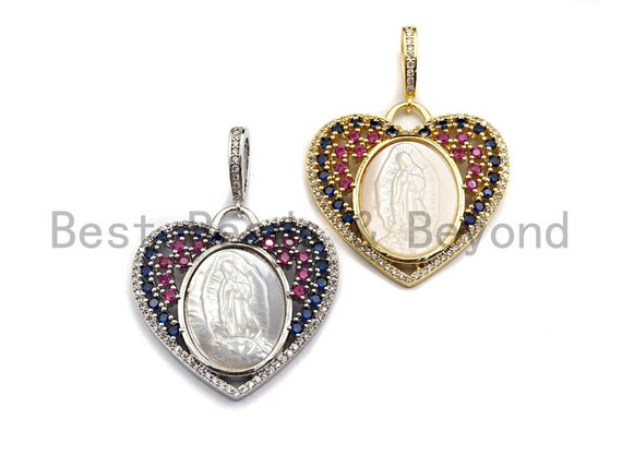 Pre-Selling CZ Micro Pave Virgin Mary on Heart Shape Pendant, Rainbow CZ Pendant, Silver/Gold plated, Religious Jewelry,  32x33mm, Sku#F880