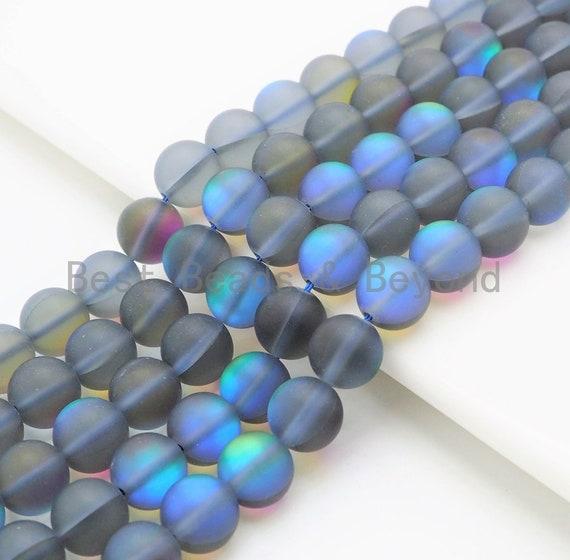 Gray Spectrolite Quartz Matte, Gray Blue Crystal Round 6mm/8mm/10mm/12mm beads, Manmade Moonstone, 15.5inch strand, SKU#U291