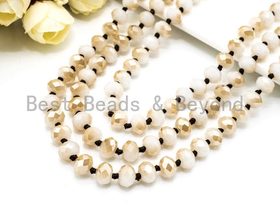 """36""""/60"""" Long-Knotted Champagne White Faceted Crystal Necklace,Long Necklace,8mm Crystal Beads,60inch/36inch Necklace, Neutral Color SKU#D11"""