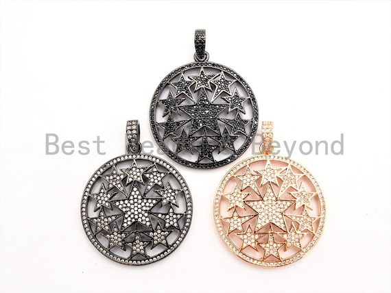 30mm Large CZ Micro Pave Hollow out Star Disc Pendant, Cubic Zirconia Filigree Rose Gold/Gold/Silver/Black Focal Pendant, 33x37mm, F547