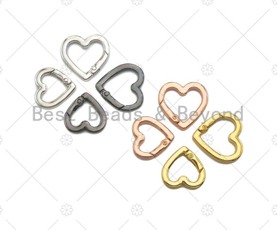 22/26mm Heart Spring Gate, Gold/Silver/Gunmental Heart Clasp, Snap Clip Trigger Clasp, Spring Buckle for Chain Purse Key Jewelery, sku#H314