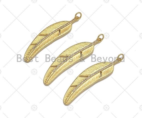 18K Gold Filled Feather Shape Pendant,CZ Micro Pave Gold Filled Charm, Necklace Bracelet Charm Pendant,12x48mm,Sku#Z1342