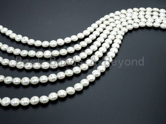 Natural White Color Mother of Pearl beads, 8x12x12mm Coin Disc Pearl beads, Loose Mop Shell Beads, 16inch strand, SKU#T58