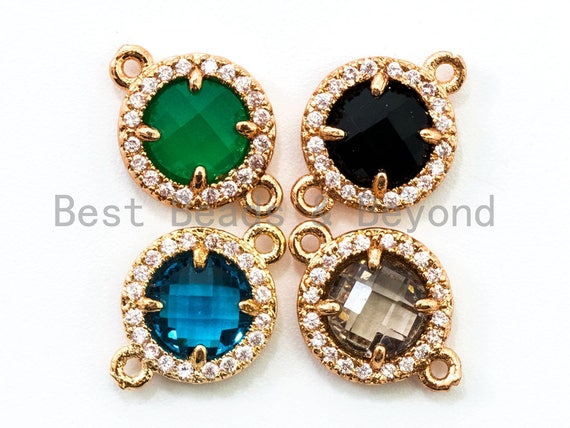 Round Bezel Connector with Faceted Glass, Gold Plated CZ Micro Pave Frame Connector,Green/Blue/Black/Smoke Crystal, 9x13mm, sku#A72