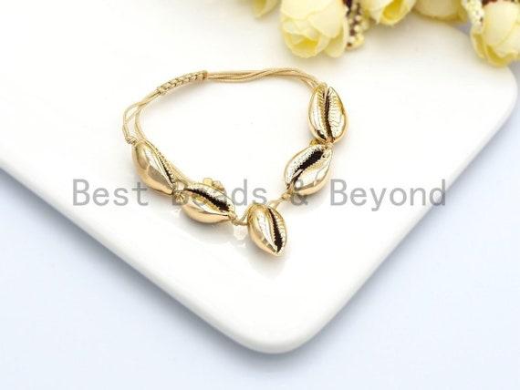 Gold Seashell bracelet, cowrie seashell beach jewelry, Natural cowrie shell Bracelt with pull tie, Boho Bracelet, SKU#V39