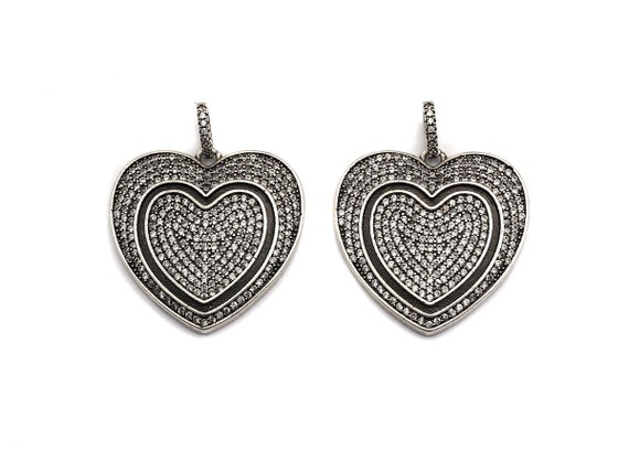 PRE-SELLING Antique Finish CZ Micro Pave Two Heart Pendant,Silver Tone, Clear Cubic Zirconia Big Pave Heart Charm Pendant,29x29mm, sku#F993