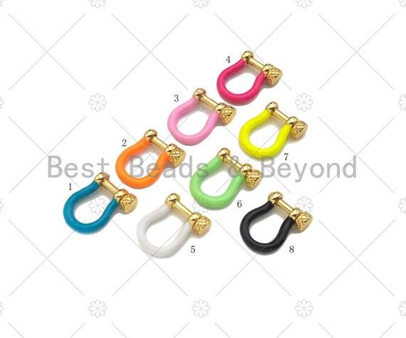 Enamel U Shape clasp, Enamel Buckle Clasp, White/Black/Royal Blue/Red/Pink Screw Clasp, Buckle Clasp, 14x18mm, Sku#K176