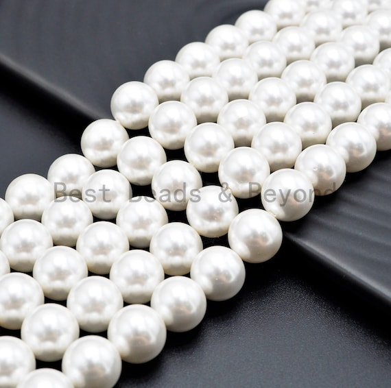 6mm/8mm/10mm/12mm/20mm High Quality White Mother of Pearl, Mop Shell, White Shell, Round Smooth Gemstone Beads, 15inch strand, SKU#U316