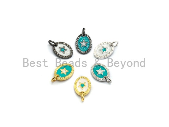 NEW DESIGN Pave CZ Enamel Oval With Star Charm, Designer Enamel Pendant,Enamel Oval Pendant, Oil Drop jewelry Findings,9x12mm,sku#Z254
