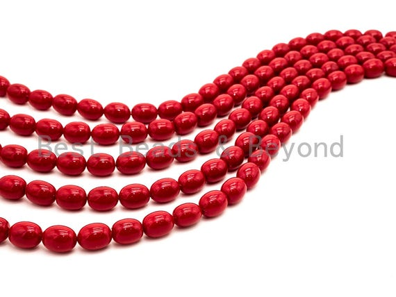Red Natural Mother of Pearl beads,10x13mm Pearl Oval beads, Loose Oval Smooth Pearl Shell Beads, 16inch strand, SKU#T90