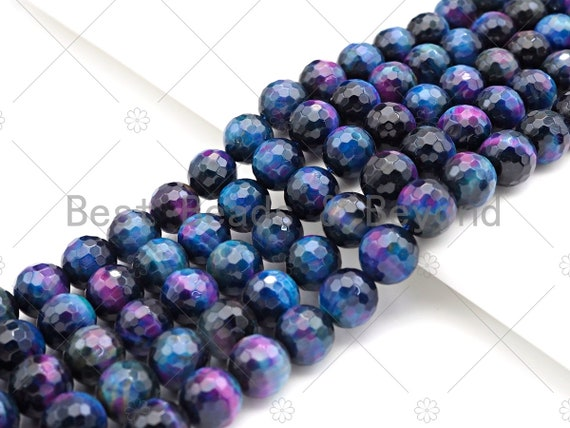 "ETSY EXCLUSIVE GALAXY!! Natural Tiger Eye Round Faceted 8mm/10mm/12mm, Galaxy Tiger Eye,Purple Blue Pink,15.5"" Full Strand, Sku#UA206"