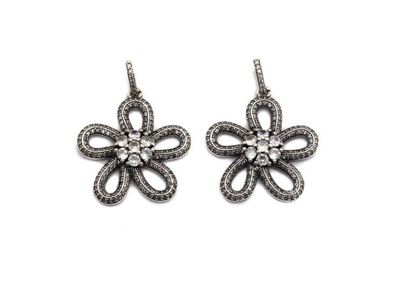 PRE-SELLING CZ Fully Micro Pave Hollow out Flower Pendant, Antique Silver Tone, Cz Pave Five-petaled Flowers Charm Pendant,28x30mm,sku#F984