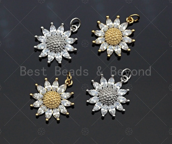 CZ Micro Pave Sunflower Pendant, Gold/Silver Plated Jewelry, Daisy Flower Charm Pendant, 18x20mm, sku#F1219