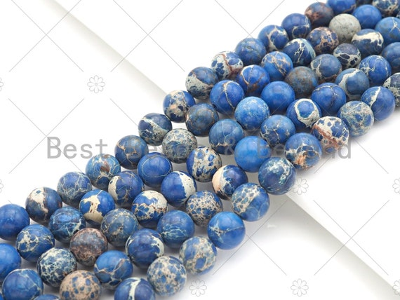 High Quality Coblalt Blue Sea Sediment Imperial Jasper Beads, 6mm/8mm/10mm/12mm Round Smooth Imperial Japser, 15.5'' Full Strand, SKU#UA175
