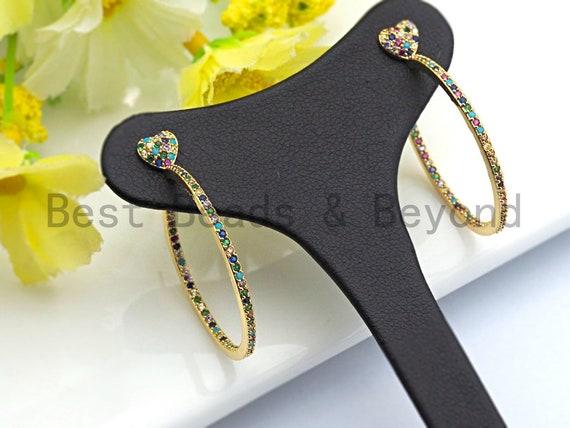 PRE-SELLING Colorful CZ Micro Pave Rainbow Large Hoop Earring with heart, Gold earrings, Huggies Earrings,Minimal earrings,6x35mm,sku#J125