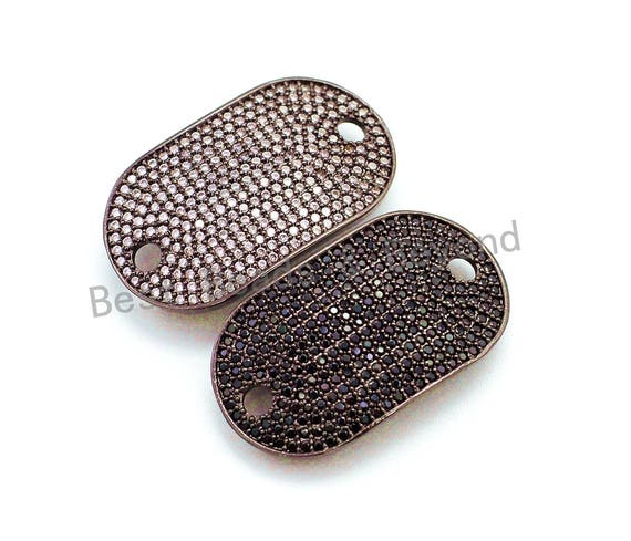 CZ Micro Pave 32x18mm Oval Black Rhodium Plated Rectangle Curved Connector with Big Hole for Bracelet, 1pc/2pcs sku#E60