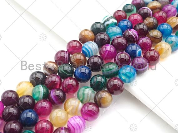 High Quality Smooth Colorful Banded Agate beads, 6mm/8mm/10mm/12mm Rainbow Agate Gemstone beads, 15.5inch strand, SKU#UA152