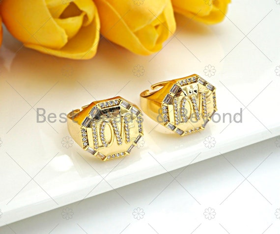 CZ Micro Pave Love Word On Octagon Shape Adjusatble Ring, 18K Gold Filled Open Ring, Statement Ring, 20mm, Sku#X200