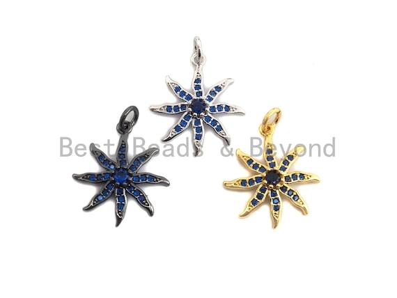 PRE-SELLING Cobalt CZ Micro Pave Starburst Pendant, Cubic Zirconia Pave Sunflower Pendant/Charm,18x20mm, sku#Z419