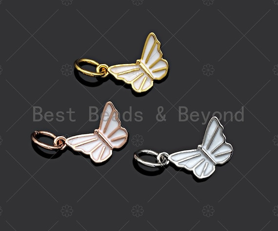 White Enamel CZ Micro Pave Butterfly Shape Pendant,Cubic Zirconia Butterfly Charm,Gold/Silver/Rose Gold Tone,11x7mm,Sku#Y348