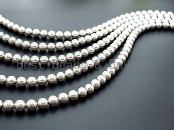 Natural Bright Silver Hematite Titanium plated beads, 2/3/4/6/8/10/12mm Round Smooth Hematite, Silver Gemstone Beads, 16inch strand, SKU#U45