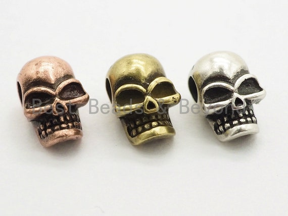 Antique Style Mini Skull Bead, Paracord Survival Bracelet Beads, Big Hole Skull Spacer Beads, Men's Jewelry Findings,7x7x10mm,sku#Y115