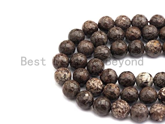 "Natural Brown Color Snowflake Beads, Round Faceted 6mm/8mm/10mm/12mm, Snowflake Gemstone beads, 15.5"" full strand, sku#U486"