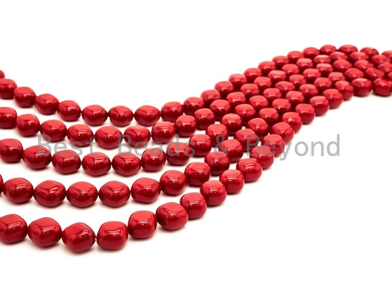 Red Natural Mother of Pearl beads,13x15x6mm Pearl Diamond Shape Square beads, Loose Square Smooth Pearl Shell Beads, 16inch strand, SKU#T86