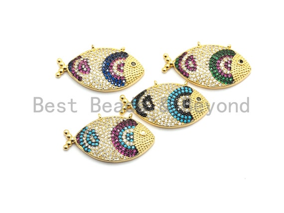 PRE-SELLING  Colorful Cz Micro Pave Fish Pendant for Necklace/Bracelet, Cobalt CZ,Cubic Zirconia Pendant,31x16mm,sku#F713