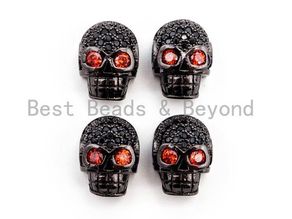 CZ Red Eye Skull Black CZ Pave On Black Micro Pave Beads, Cubic Zirconia Spacer Beads,12x10x7mm, sku#G316