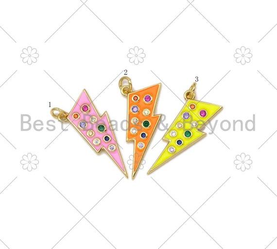 Colorful CZ Enamel Lightning Shape Pendant,18k Gold Filled Colorful Enamel Lightning Charm,Enamel Jewelry, 29x10mm,Sku#L595