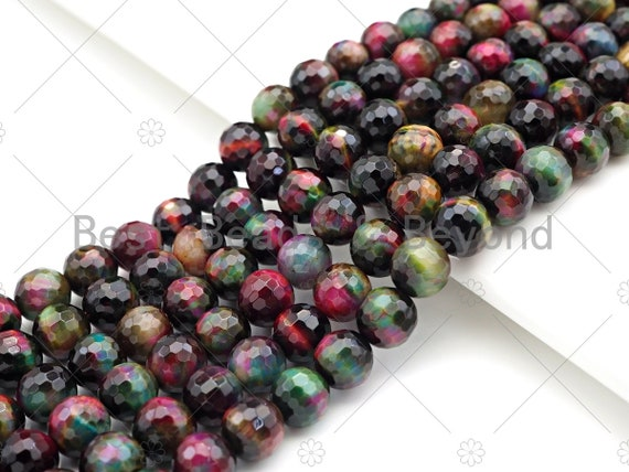 "ETSY EXCLUSIVE Multicolor Natural Facted Tiger Eye Beads, 8mm/10mm/12mm Facted Galaxy Color Tiger Eye,15.5"" Full Strand, SKU#UA205"