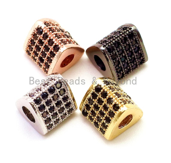CZ Micro Pave Big Hole Triangular Tube Beads, Cubic Zirconia Space Beads, 8mm,  Sku#G118