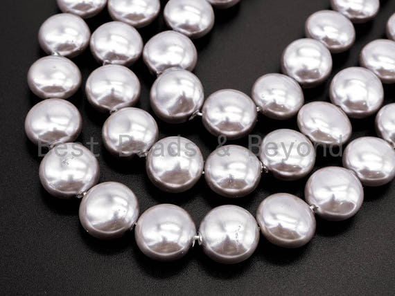 Gray Natural Mother of Pearl beads,12x8mm Pearl Coin beads, Loose Coin Smooth Pearl Shell Beads, 16inch strand, SKU#T70