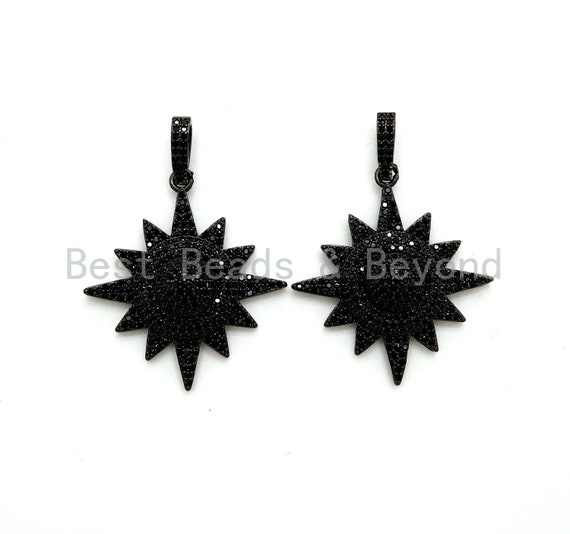 Black CZ Pave On Black Micro Pave Star Charm Beads, Cubic Zirconia Paved Star Charm,32x36mm, sku#F541
