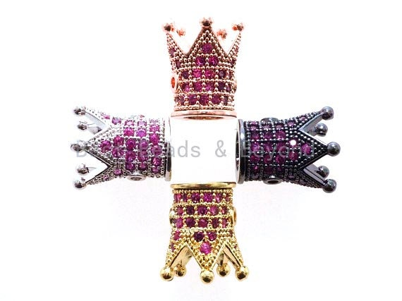 CZ King Crown Fuchsia Micro Pave Beads, Cubic Zirconia Crown Space Beads,Men's Women's Jewelry Making, 10x8mm, Sku#G405