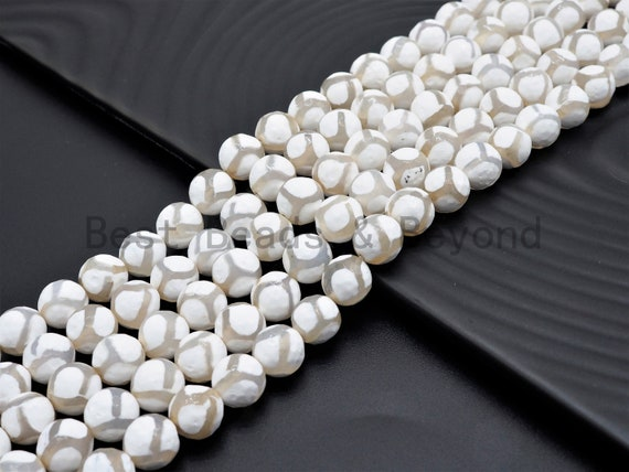 Quality Dzi White Agate beads, Round Faceted with Football line Beads, 6mm/8mm/10mm/12mm, Tibetan Agate,15.5inch strand, SKU#U403